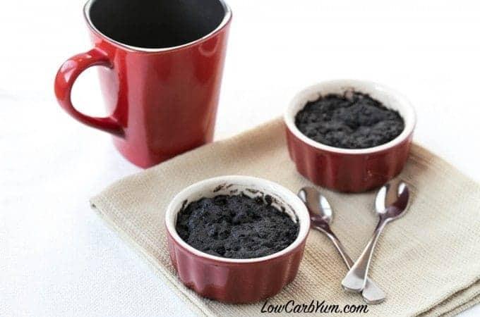 Low carb minute brownie mug cake