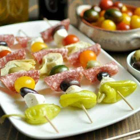 Low carb appetizer - antipasto kebabs