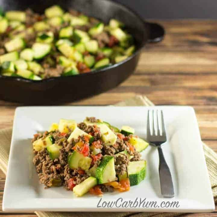 Low carb ground beef zucchini tomato skillet recipe