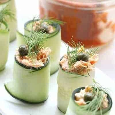 Low carb appetizer - salmon cucumber rolls