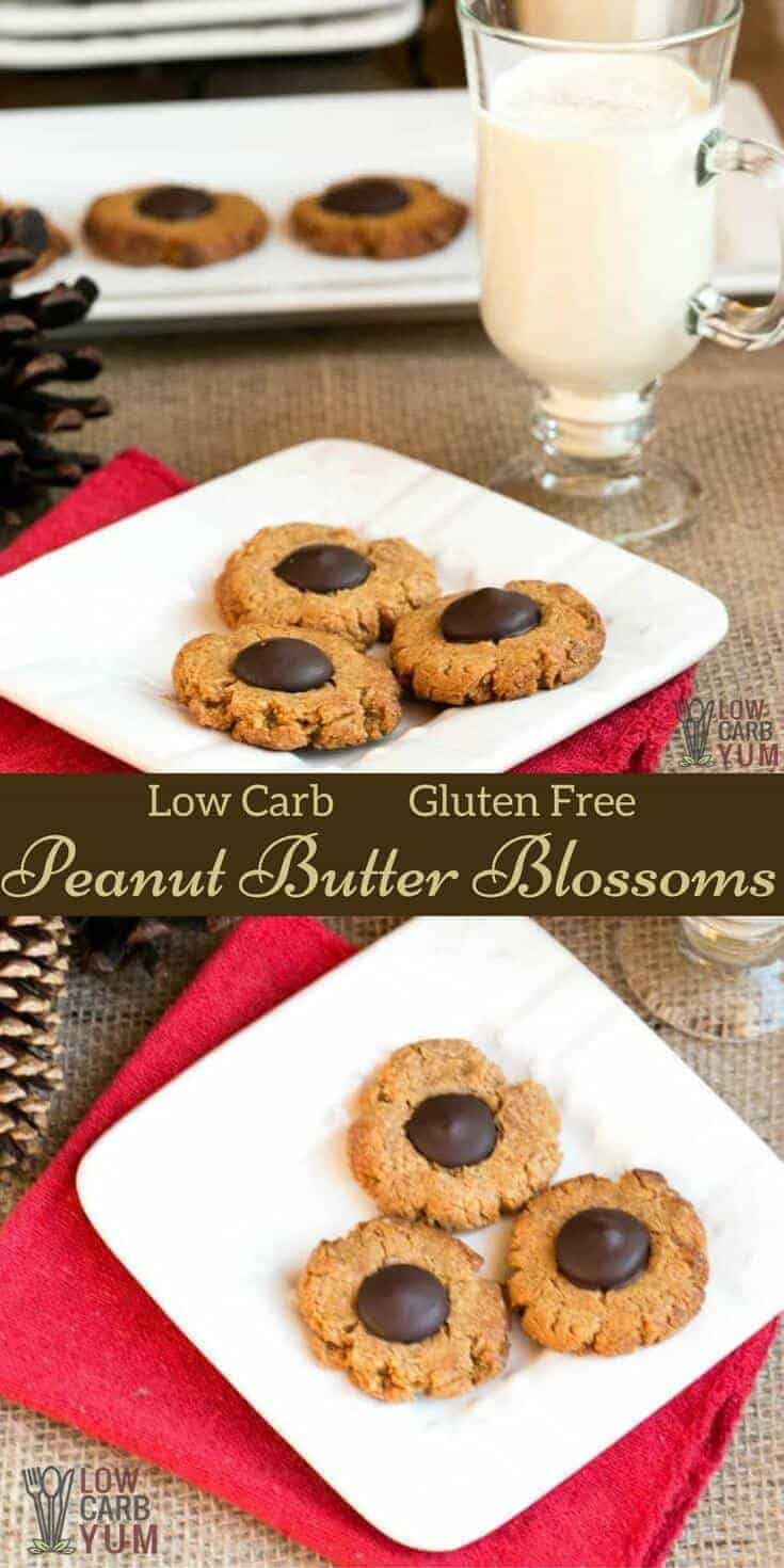 Here's a great low carb gluten free peanut butter blossoms recipe. These peanut butter cookies with chocolate centers are always a hit. #lowcarbrecipes #lowcarbdesserts #ketosnacks #ketodesserts #holidaybaking #glutenfreecookies #peanutbuttercookies | LowCarbYum.com