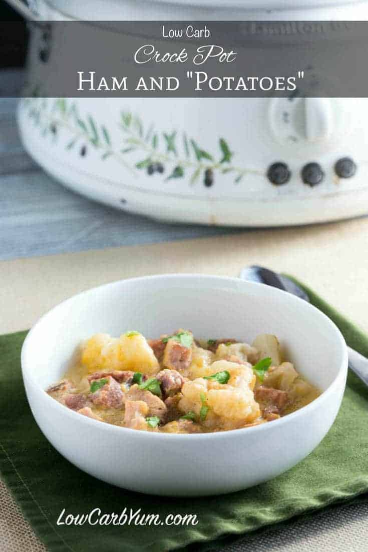 Got some leftover ham? You must try this comforting low carb crock pot ham cauliflower