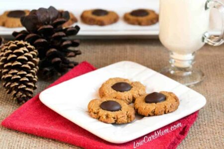 Low carb gluten free peanut butter blossoms cookies