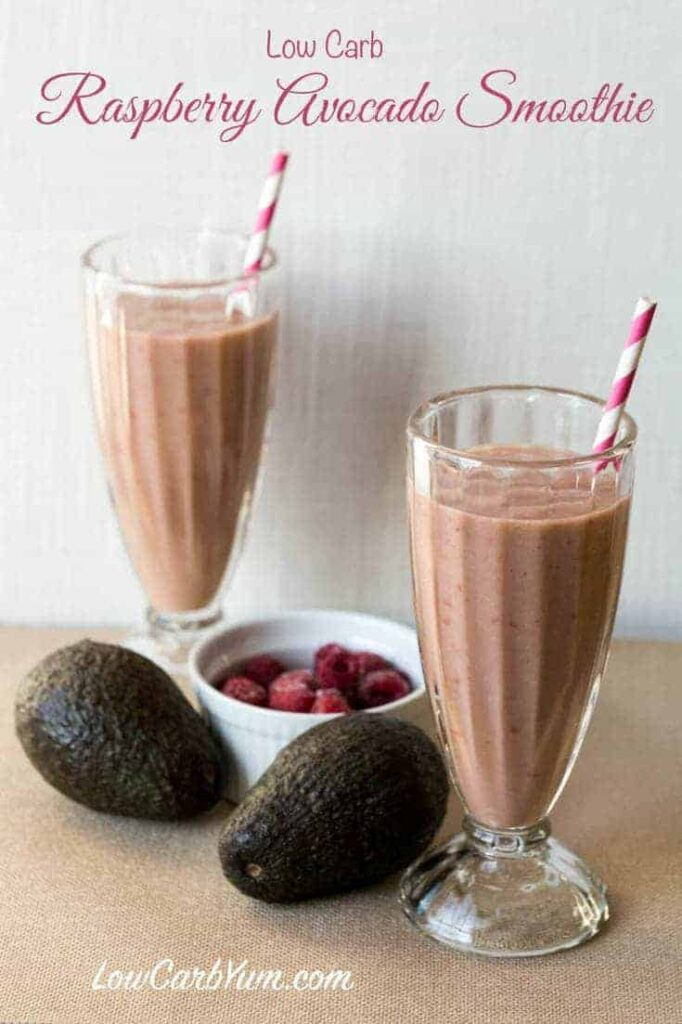Low carb and dairy free raspberry avocado smoothie