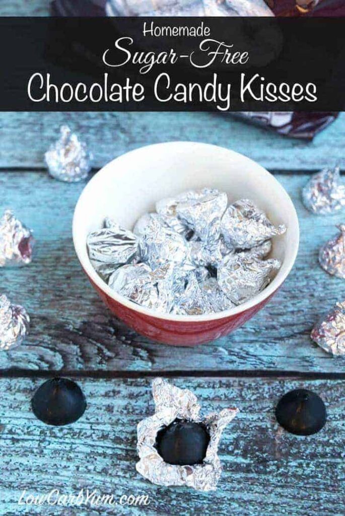Easy to make low carb sugar free chocolate kisses candy