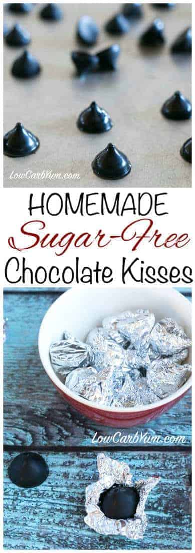 It's nearly impossible to find good low carb sugar free chocolate kisses molded candy. Why not make it yourself using kiss drop candy molds? #sugarfree #keto | LowCarbYum.com