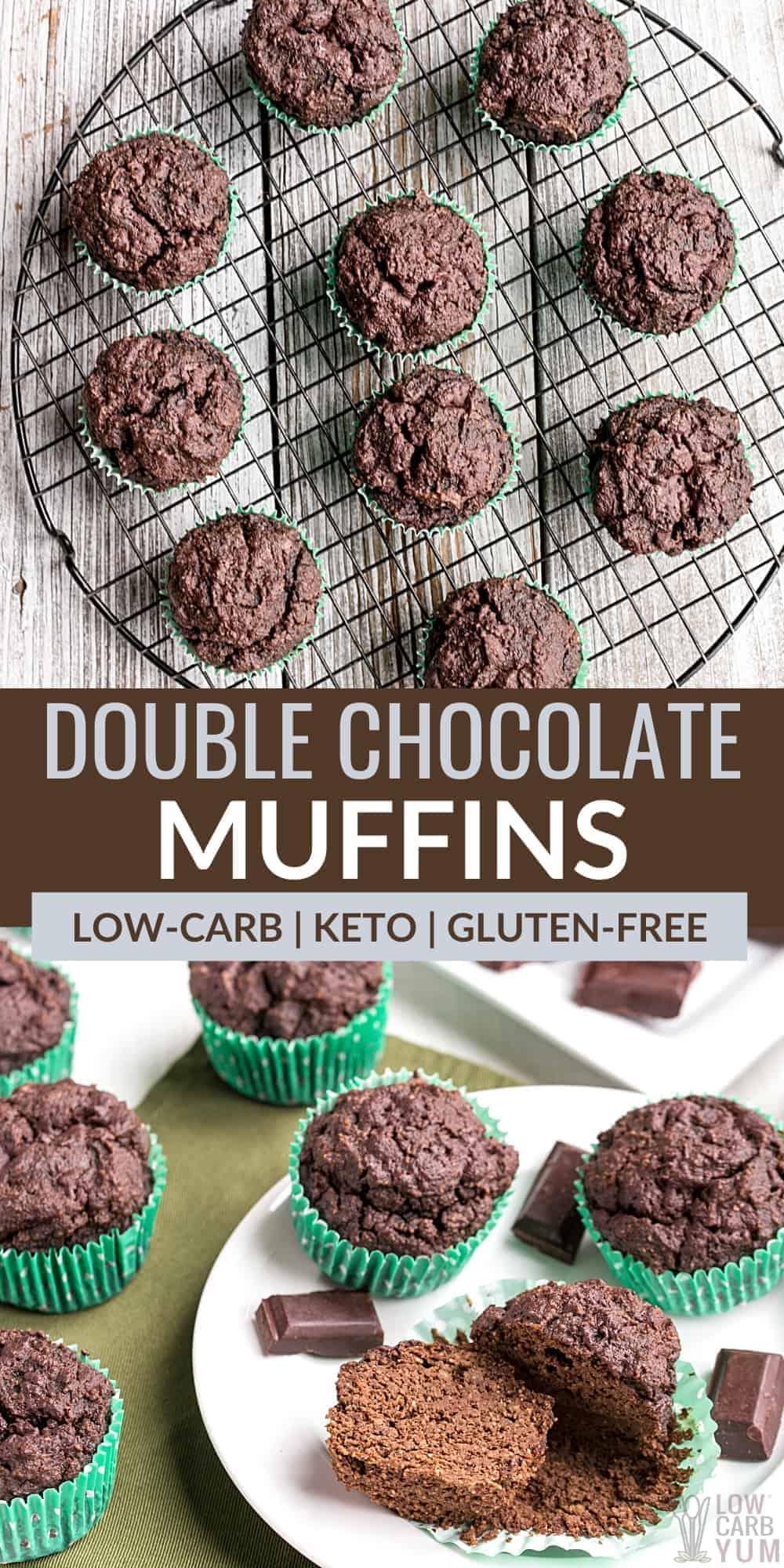 keto double chocolate muffins pinterest image