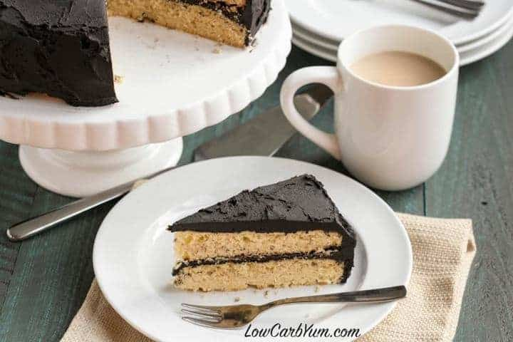 Delicious low carb dark chocolate frosting yellow cake