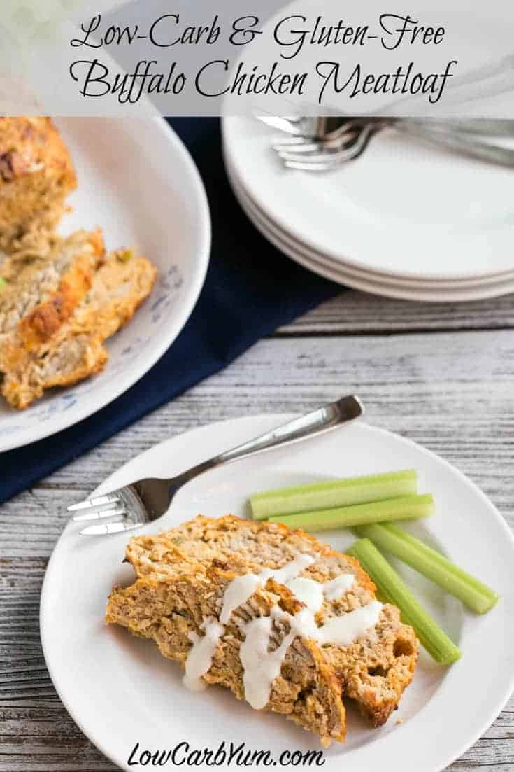 Spice it up with this low carb gluten free Buffalo chicken meatloaf. It uses ground chicken with all the flavors of buffalo chicken wings without the mess!
