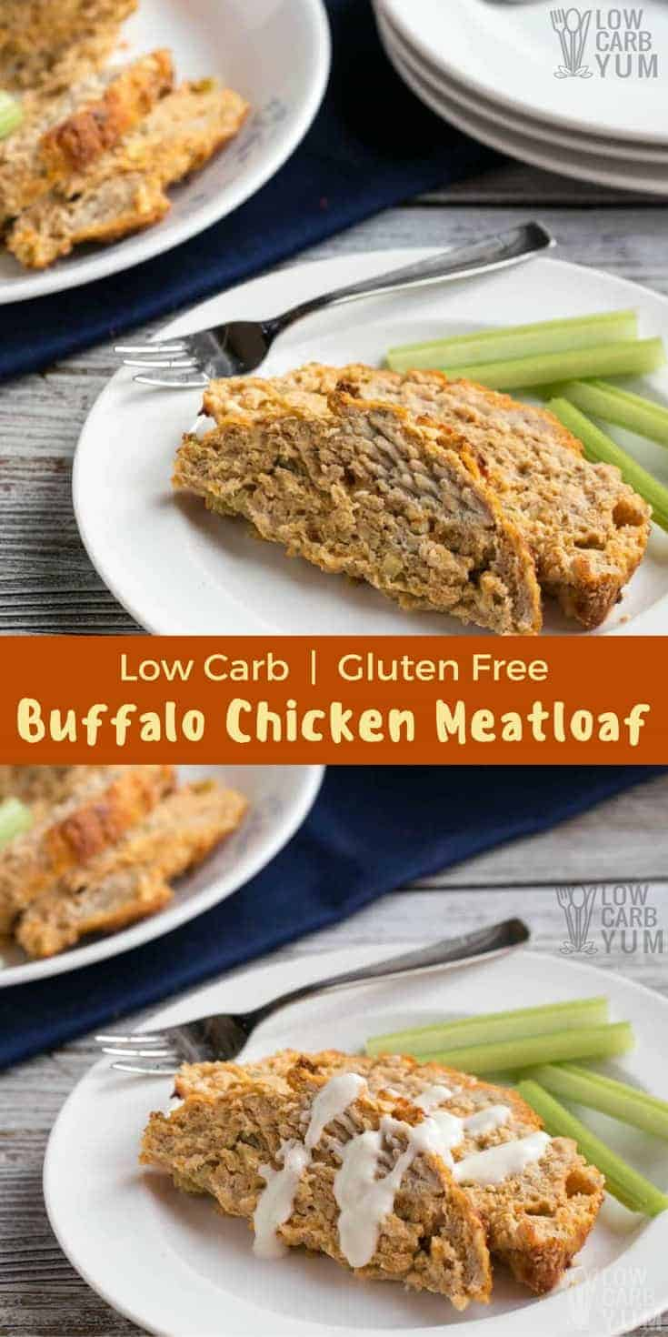 Spice it up with this gluten free low carb Buffalo chicken meatloaf. It uses ground chicken with all the flavors of buffalo chicken wings without the mess! #keto #lowcarbdinner | LowCarbYum