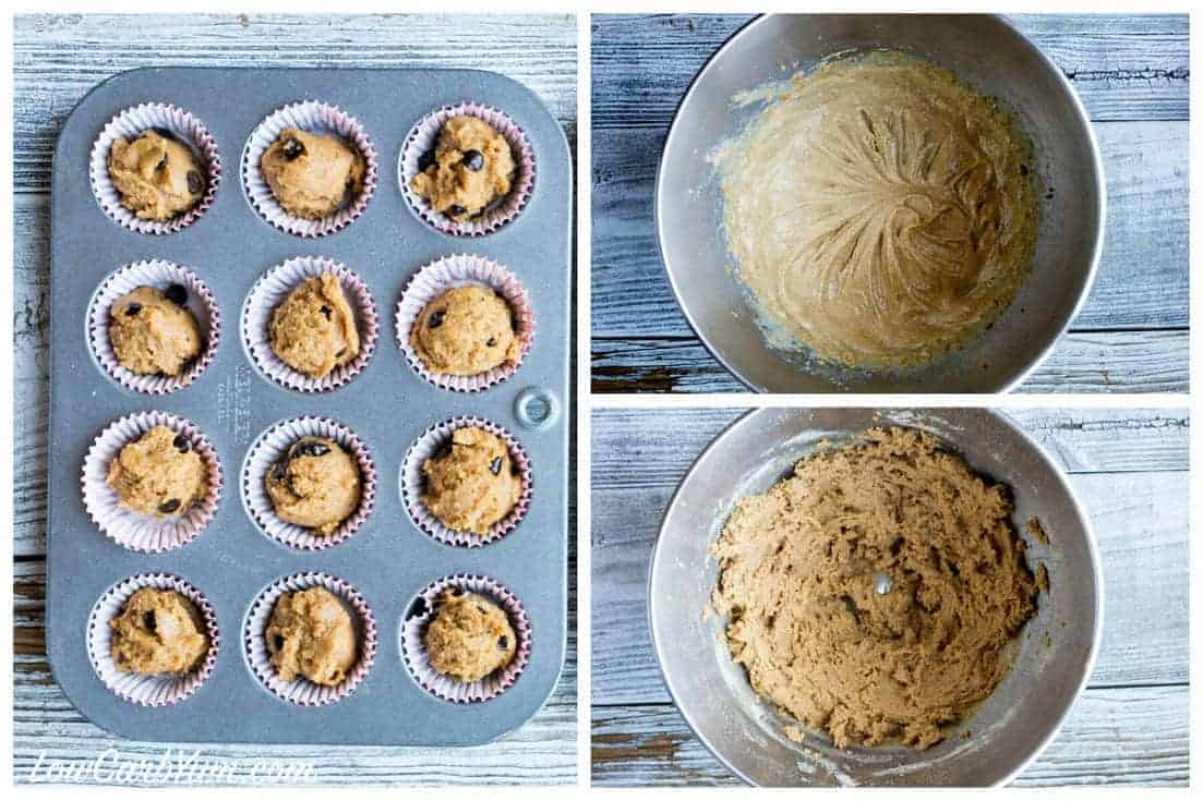 Low Carb Gluten Free Mini Peanut Butter Chocolate Chip Muffins Steps 2