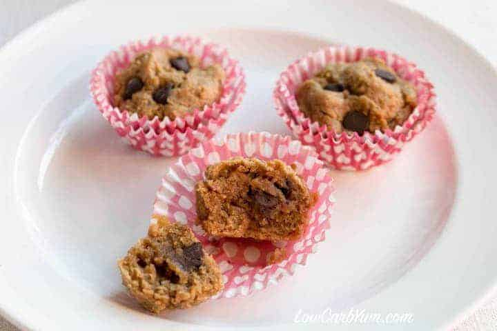 Low carb gluten free peanut butter chocolate chip muffins