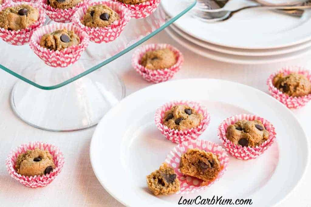 Low Carb Gluten Free Mini Peanut Butter Chocolate Chip Muffins