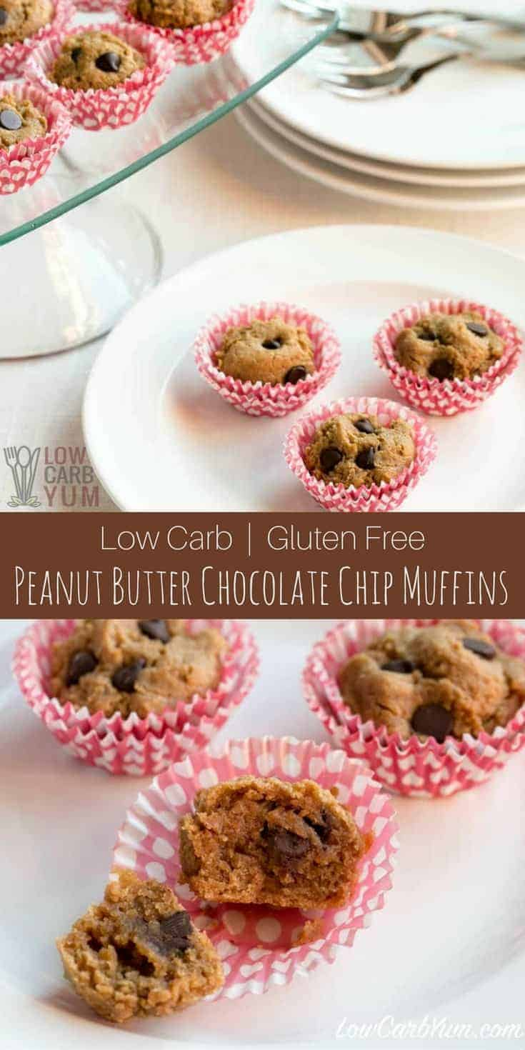 Delicious low carb gluten free mini peanut butter chocolate chip muffins in perfect bite size portions. So good, they are hard to resist! | LowCarbYum.com