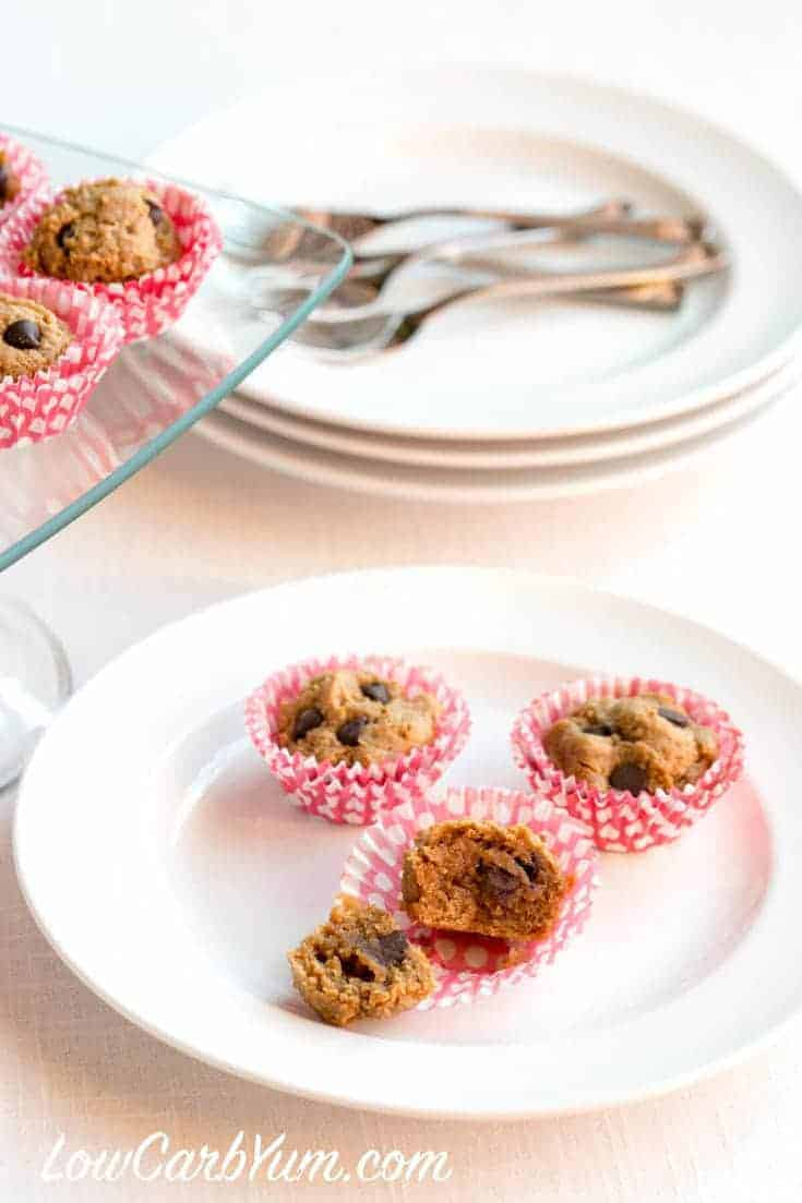 Delicious low carb gluten free mini peanut butter chocolate chip muffins in perfect bite size portions. So good, they are hard to resist!