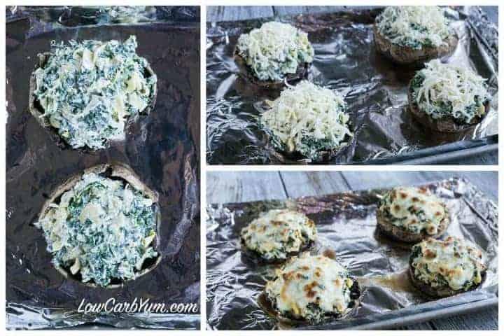 Spinach artichoke stuffed portobello mushrooms