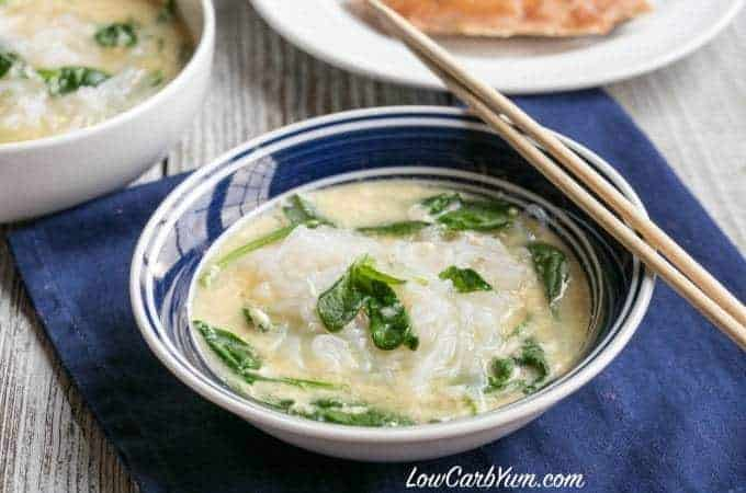 Low carb spinach egg Miracle Noodle soup