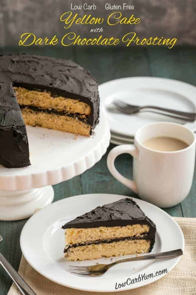 Do you miss cake after moving to a low carb lifestyle? You can have your cake! Try this yummy low carb yellow cake with dark chocolate frosting.