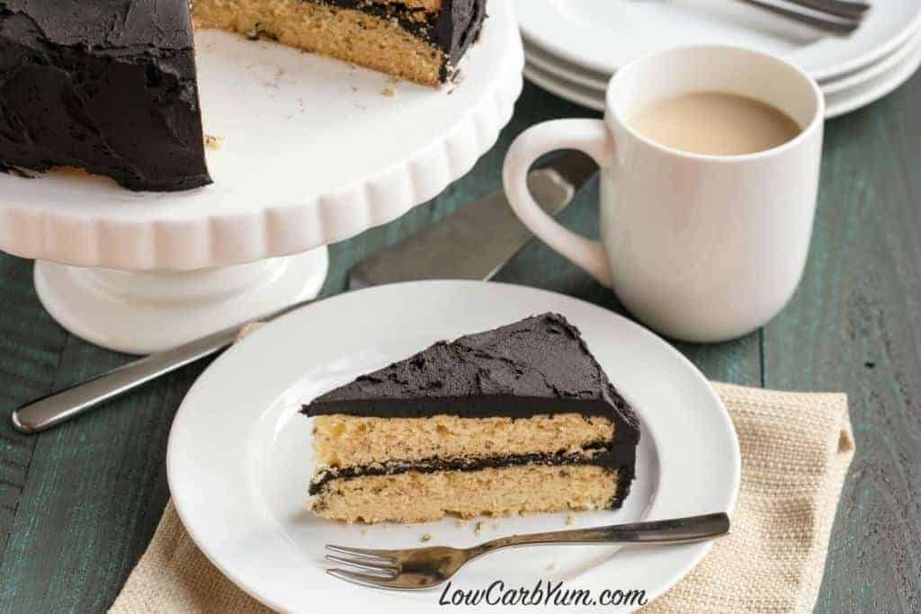 Low carb yellow cake with dark chocolate frosting