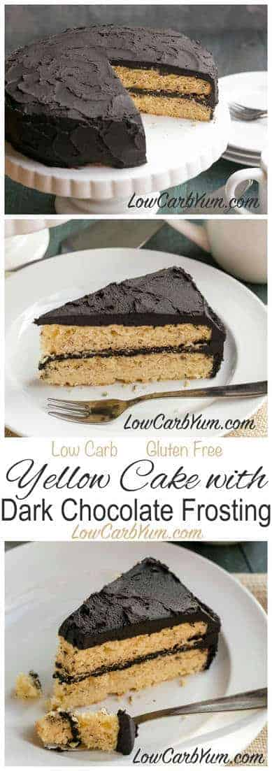 Do you miss cake after moving to a low carb lifestyle? You can have your cake! Try this yummy low carb yellow cake with dark chocolate frosting. LCHF Keto Atkins THM