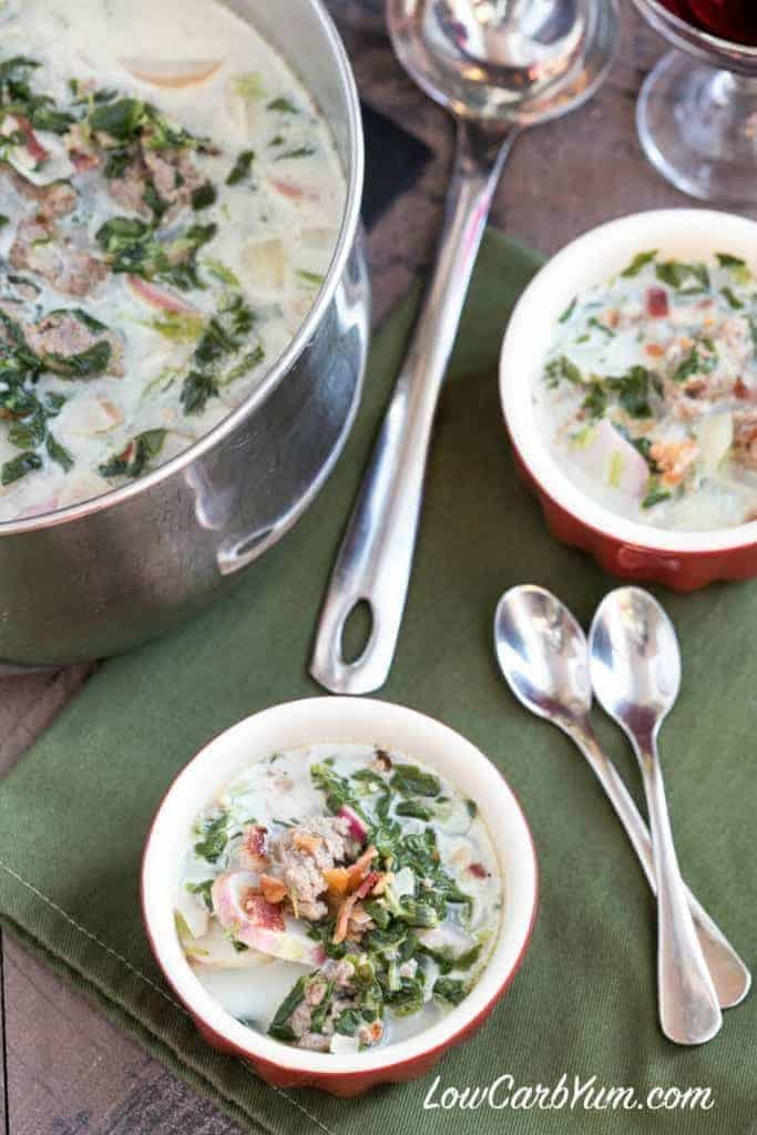 An easy to make low carb Zuppa Toscana soup that is chock full of sausage and healthy vegetables. It's a favorite Italian cream soup.