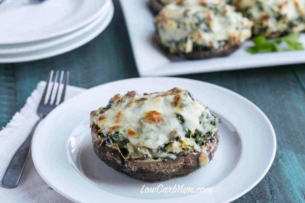 Spinach Artichoke Stuffed Portobello | Low Carb Yum