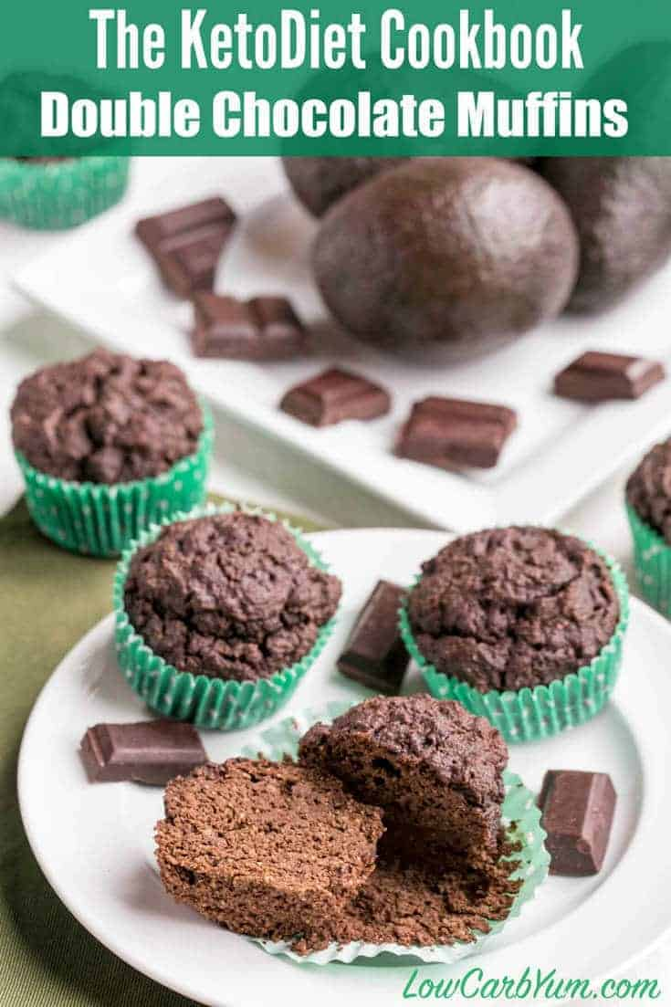 Yummy low carb double chocolate muffins with a secret ingredient. This healthy recipe comes from The KetoDiet Cookbook by Martina Slajerova.