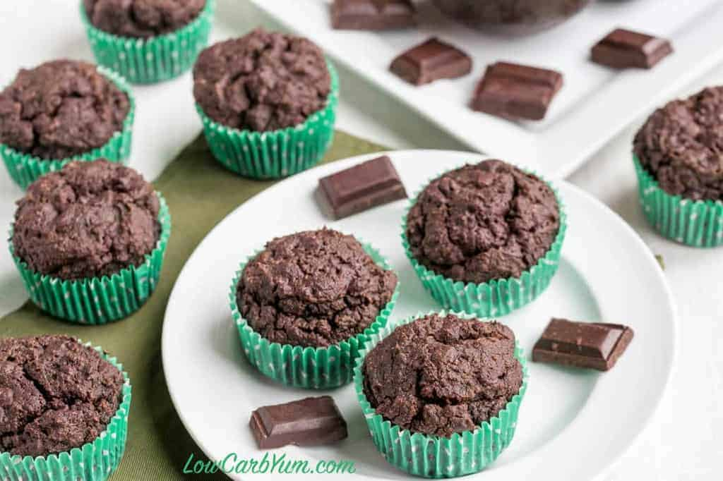 keto double chocolate muffins on plate