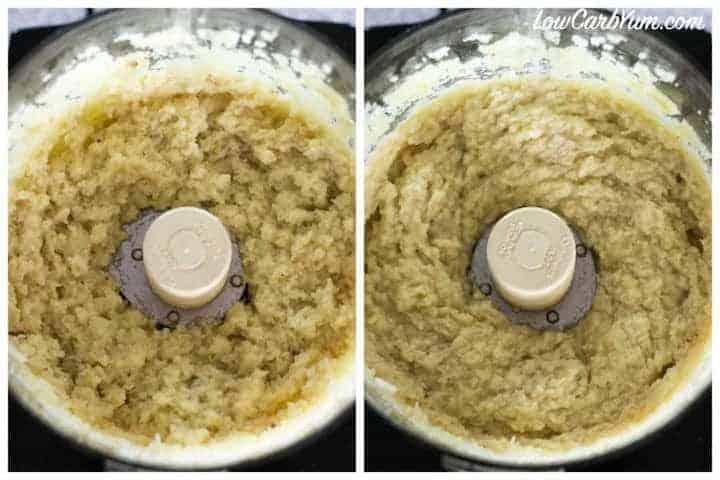 Making garlic cauliflower mash with mashed celery root