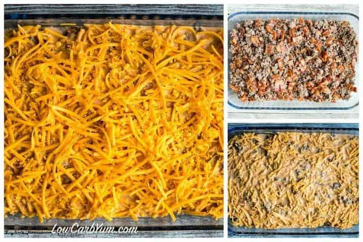 cheeseburger casserole layers