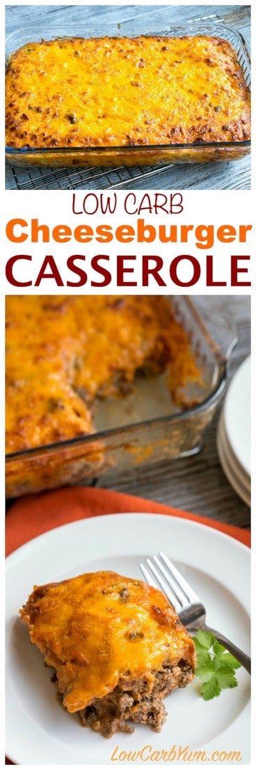 Need a simple ground beef casserole to feed your family or friends? They will love this easy low carb bacon cheeseburger casserole. | LowCarbYum.com