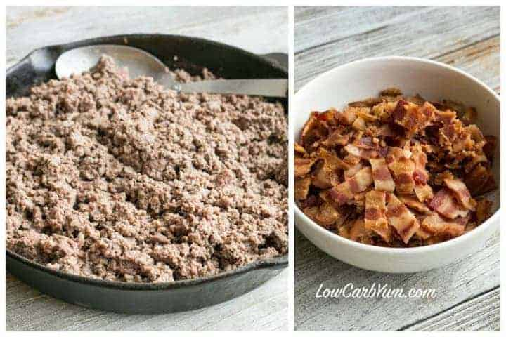 cooked ground meat and bacon