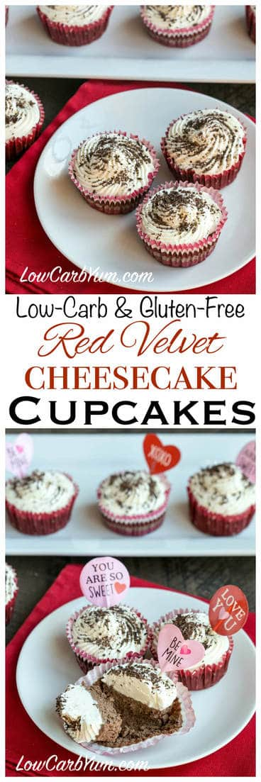 Like red velvet? Love cheesecake? Try these delicious low carb red velvet cheesecake cupcakes. A nice little treat that's perfect for Valentine's Day! LCHF Keto THM Atkins Dessert