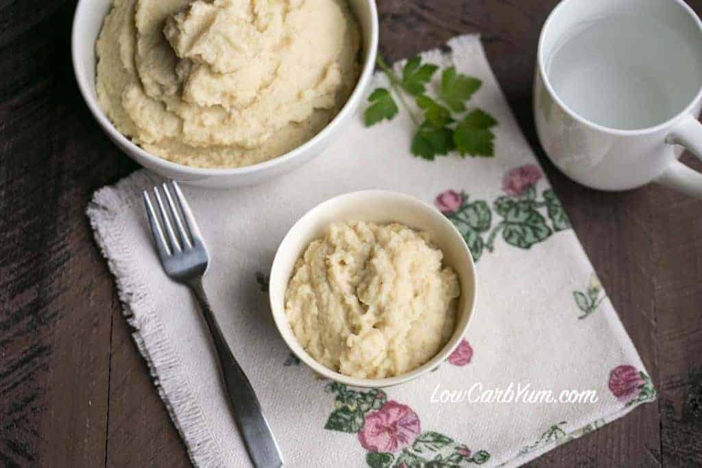 Low carb garlic cauliflower celery root mash