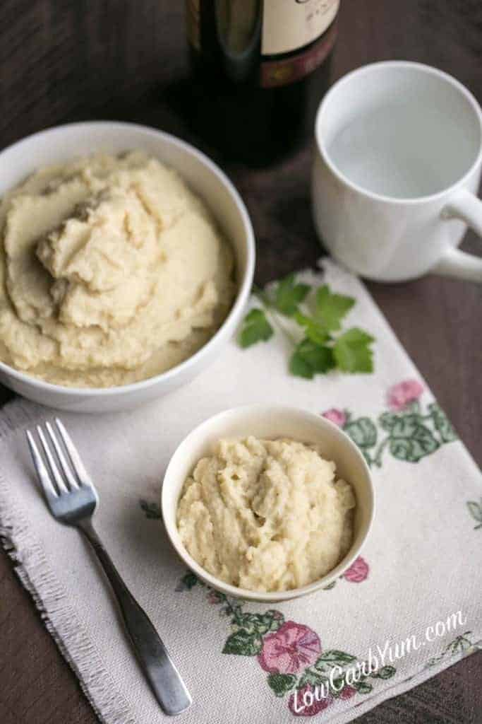 If you'd like to step up regular mashed cauliflower to the next level, try adding celery root. Low carb garlic cauliflower celery root mash is fantastic!