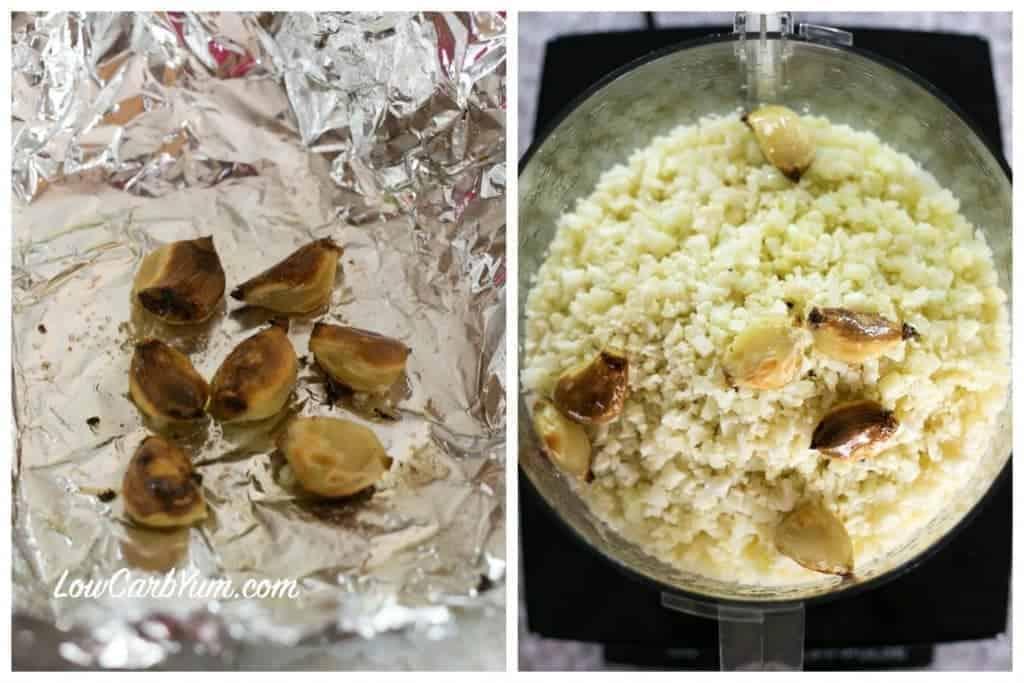 Low carb garlic cauliflower celery root mash
