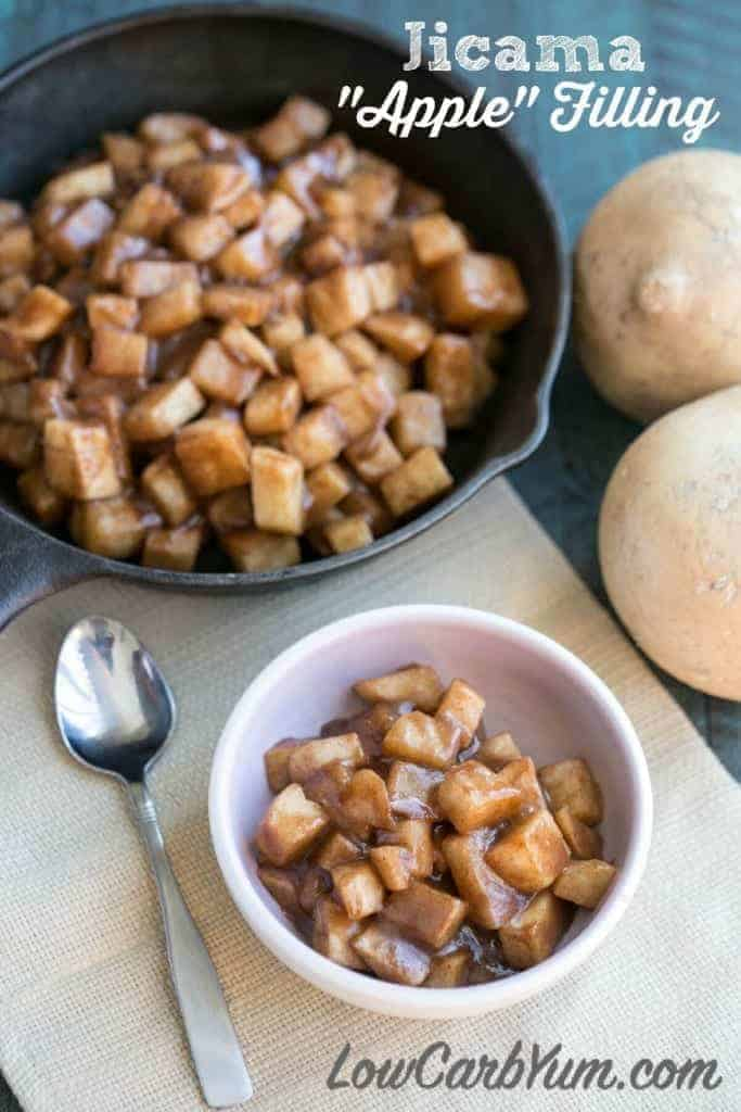 A lot of recipes call for apple pie filling, which isn't low carb. You can use a jicama apple filling instead which is much lower in carbohydrates.