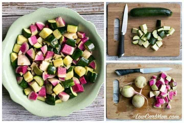 Low Carb Paleo Crustless Zucchini Radish Quiche