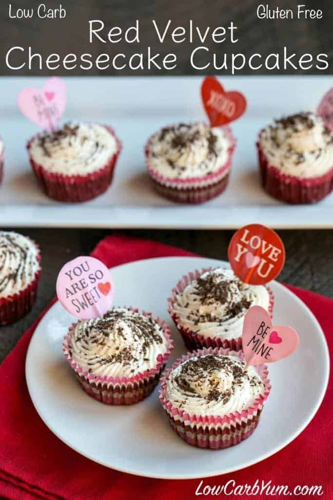 low carb red velvet cheesecake cupcakes for Valentine's Day!