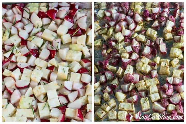Low carb roasted celery root celeriac and radishes
