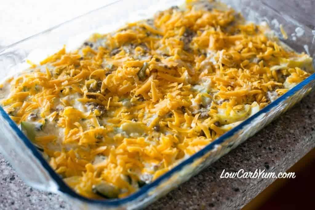 Low carb sausage squash casserole