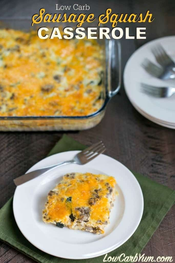 A mix of sausage and summer squash are used in this tasty low carb sausage squash casserole. Mayonnaise and cheese gives this dish it's amazing flavor.