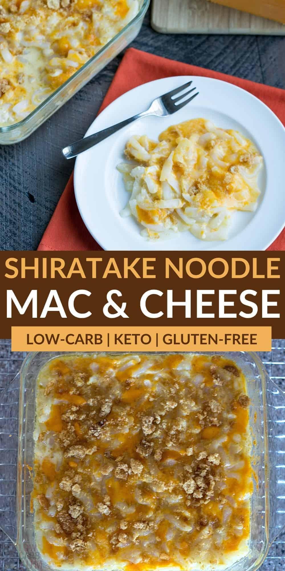 shiratake noodle keto mac and cheese pinterest image