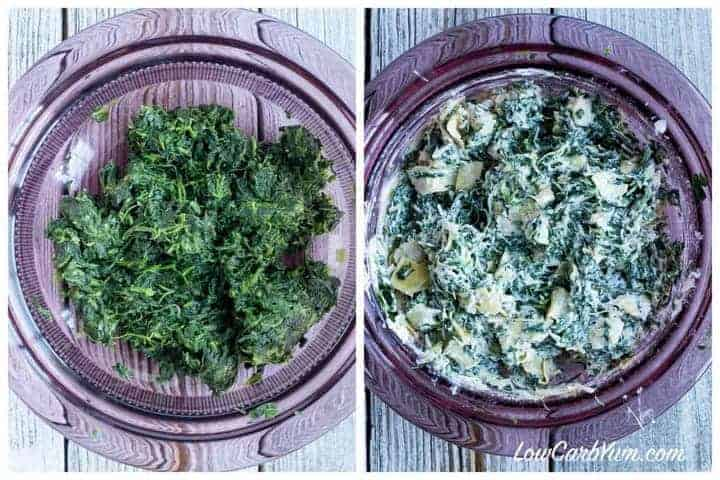 making the spinach artichoke stuffing