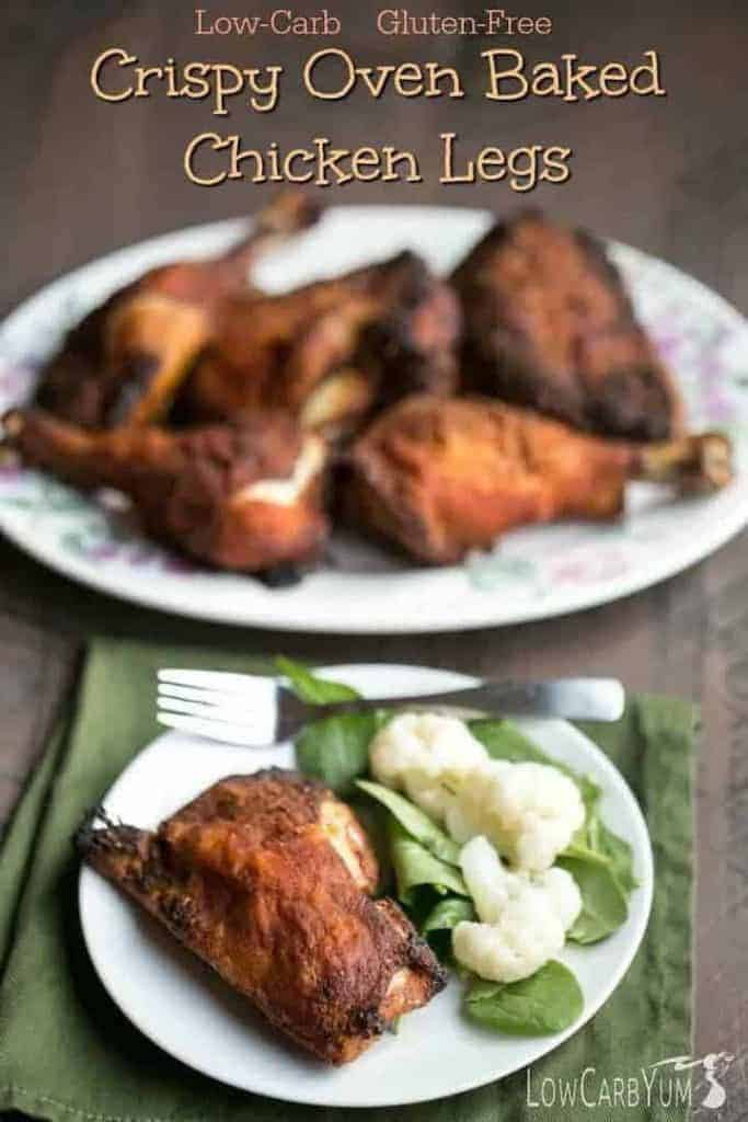 Crispy Baked Chicken Drumsticks and Thighs on Plate and Platter