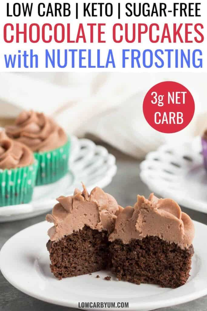 keto chocolate cupcakes with nutella frosting