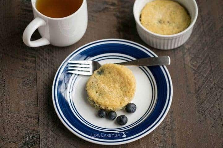 Low carb blueberry mug cake