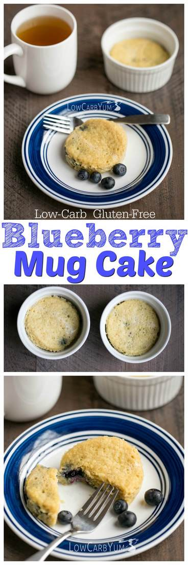 A tasty low carb blueberry mug cake that bakes up in minutes. The recipe makes two serving so eat one now and save the other for later. Atkins keto diet breakfast dessert