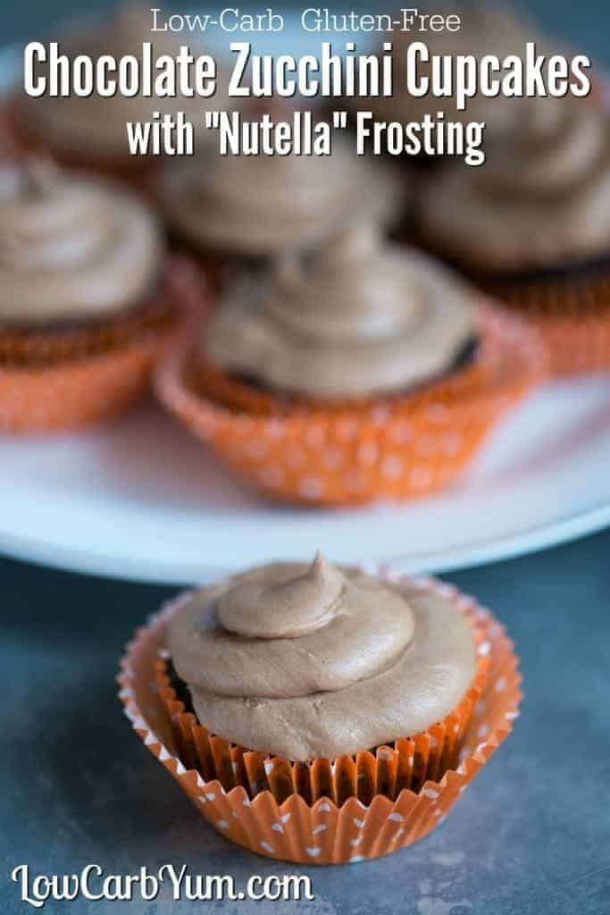Deliciously moist low carb keto gluten free chocolate cupcakes with a sugar free Nutella frosting.