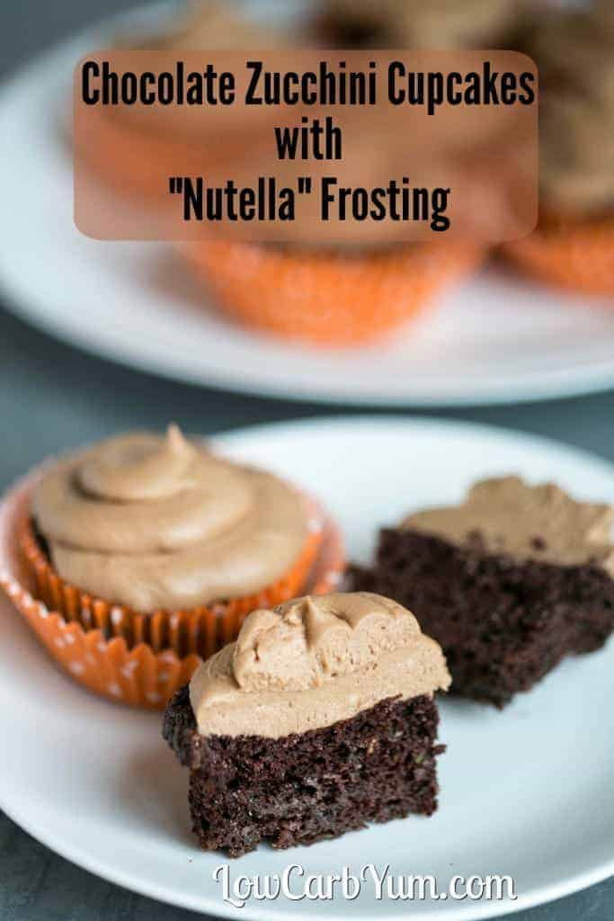 Deliciously moist low carb high fat keto gluten free chocolate cupcakes with a sugar free Nutella frosting.
